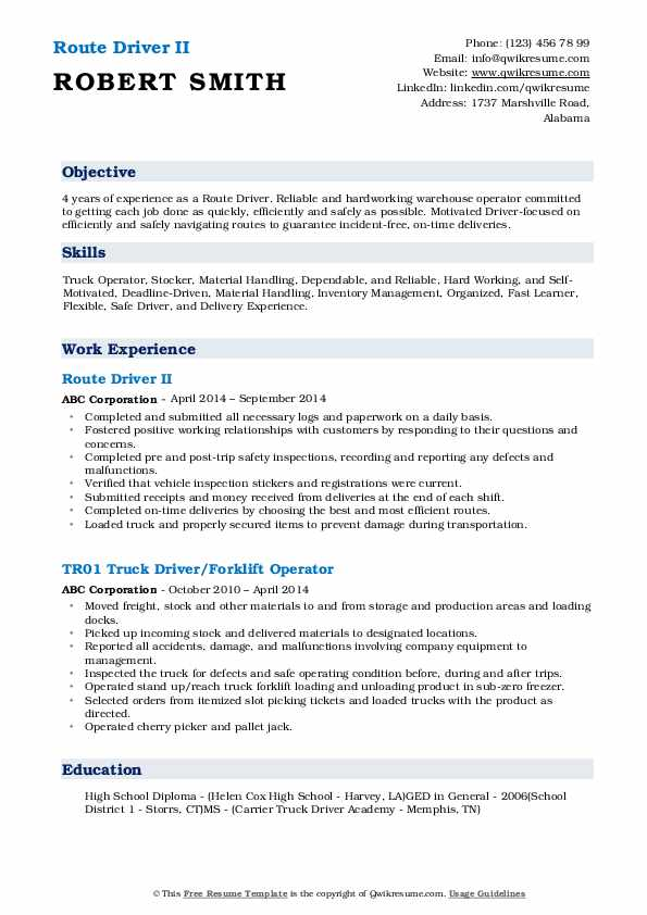Route Driver II Resume Example