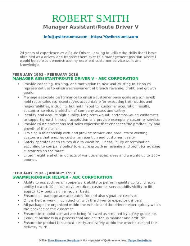 Manager Assistant/Route Driver V Resume Sample