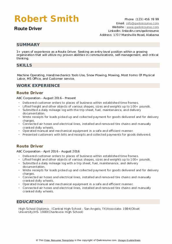 Route Driver Resume example