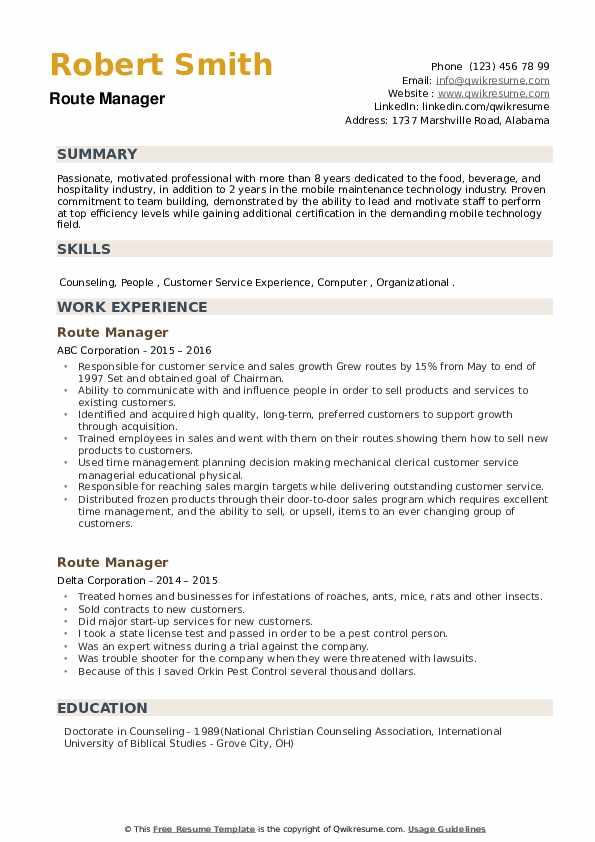 Route Manager Resume example