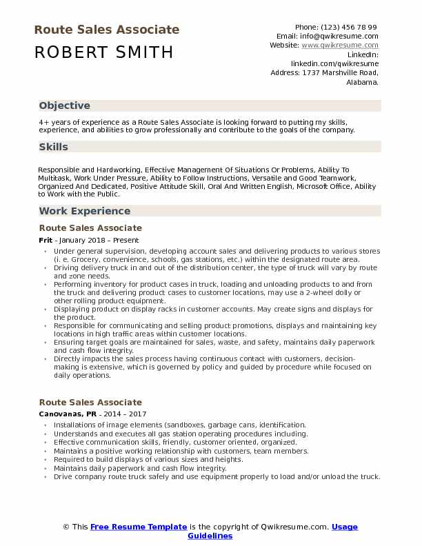 Route Sales Associate Resume Example