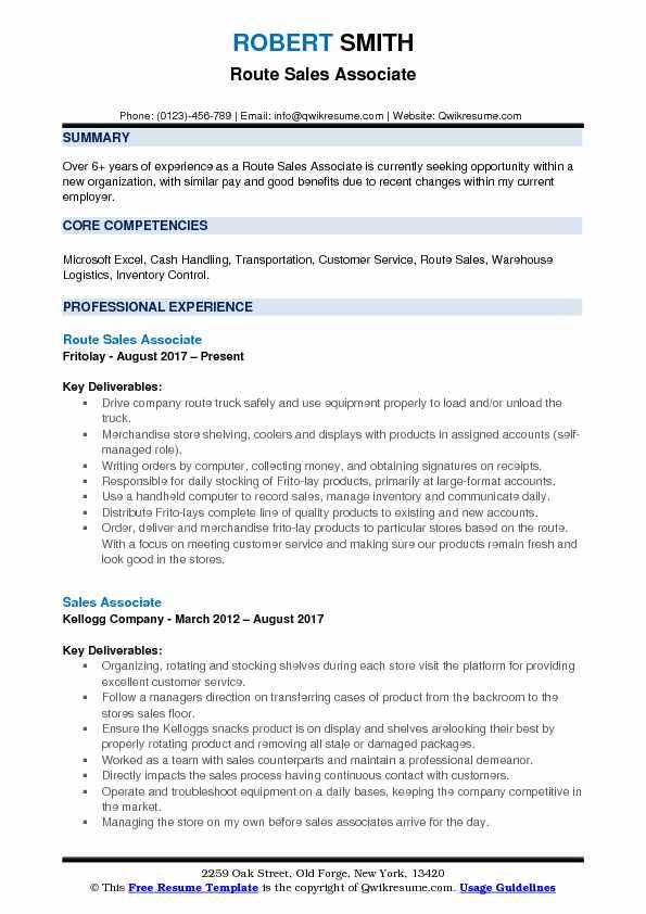 Route Sales Associate Resume Template