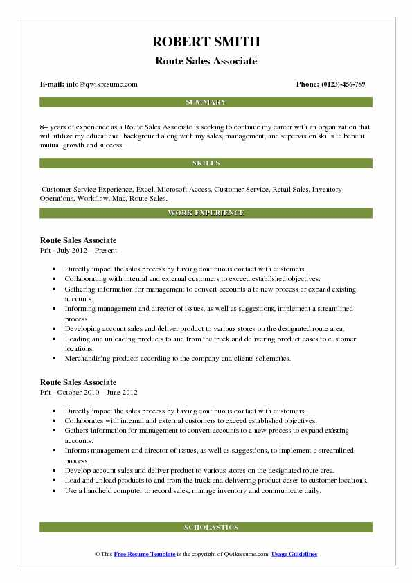 Route Sales Associate Resume Template