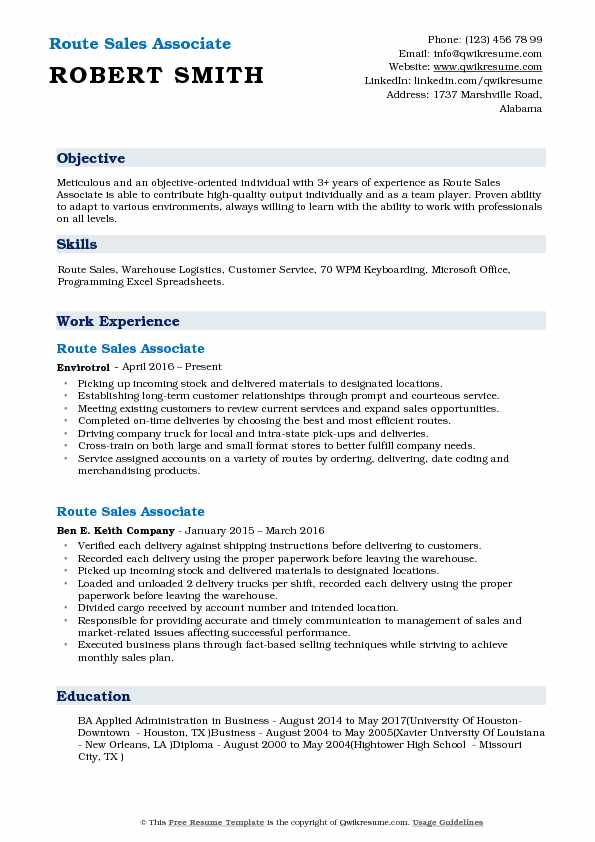 Route Sales Associate Resume Format