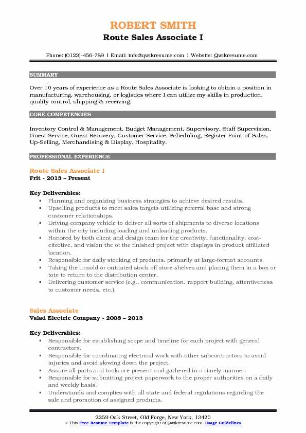 Route Sales Associate I Resume Format
