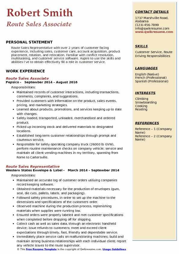 Route Sales Associate Resume Sample