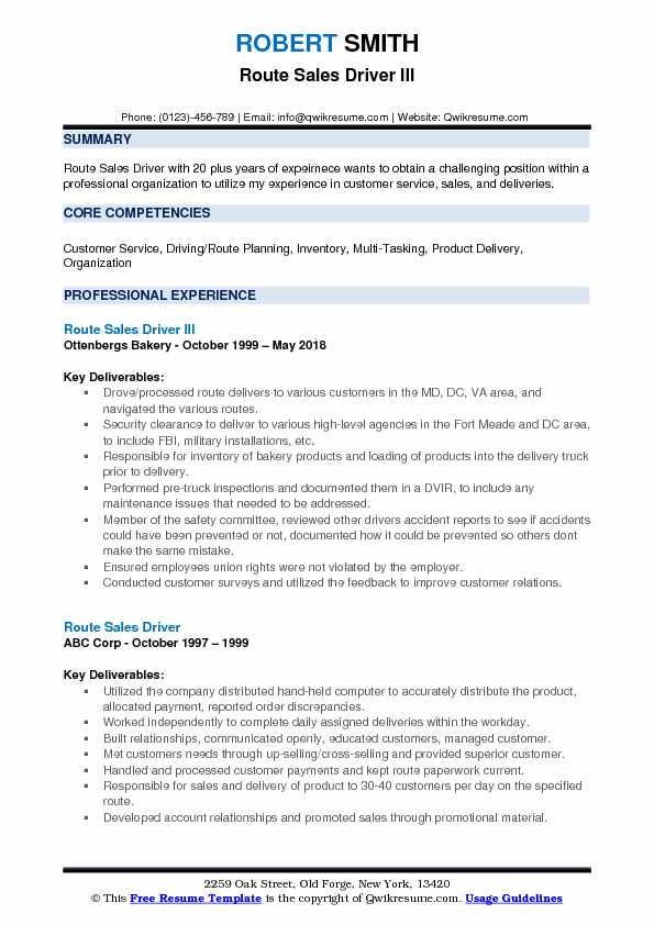 Route Sales Driver III Resume Model