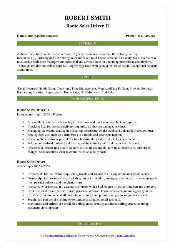 Route Sales Driver II Resume Sample