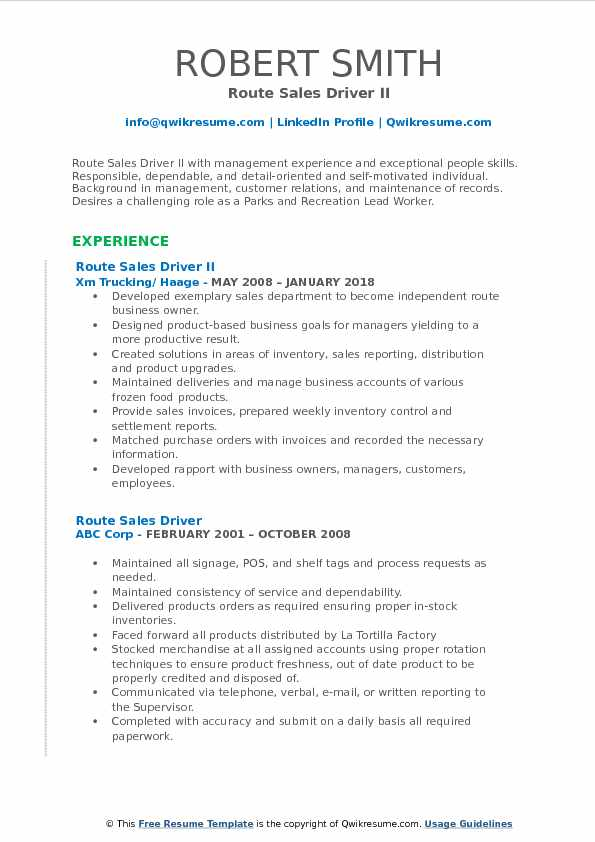 Route Sales Driver II Resume Example