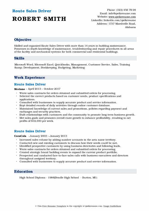 Route Sales Driver Resume Example