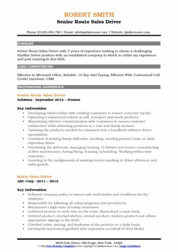 Senior Route Sales Driver Resume Template