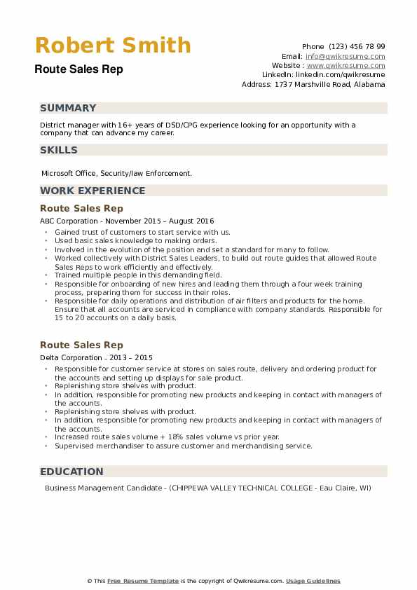 Route Sales Rep Resume example