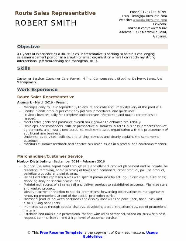 Route Sales Representative Resume