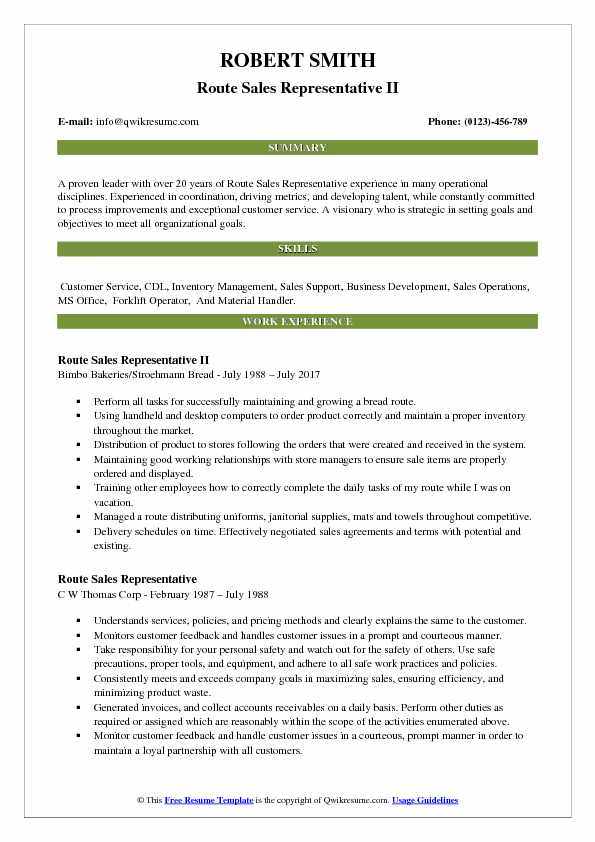 Route Sales Representative II Resume Template
