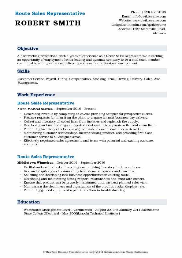 Route Sales Representative Resume Model