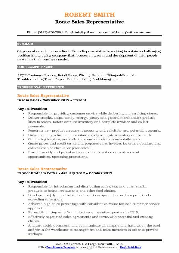 Route Sales Representative Resume Example