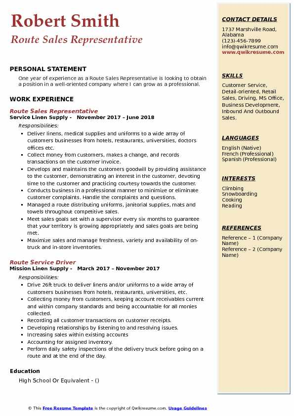 route sales representative resume samples