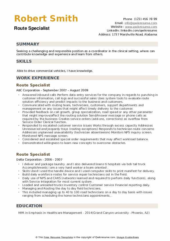 Route Specialist Resume example