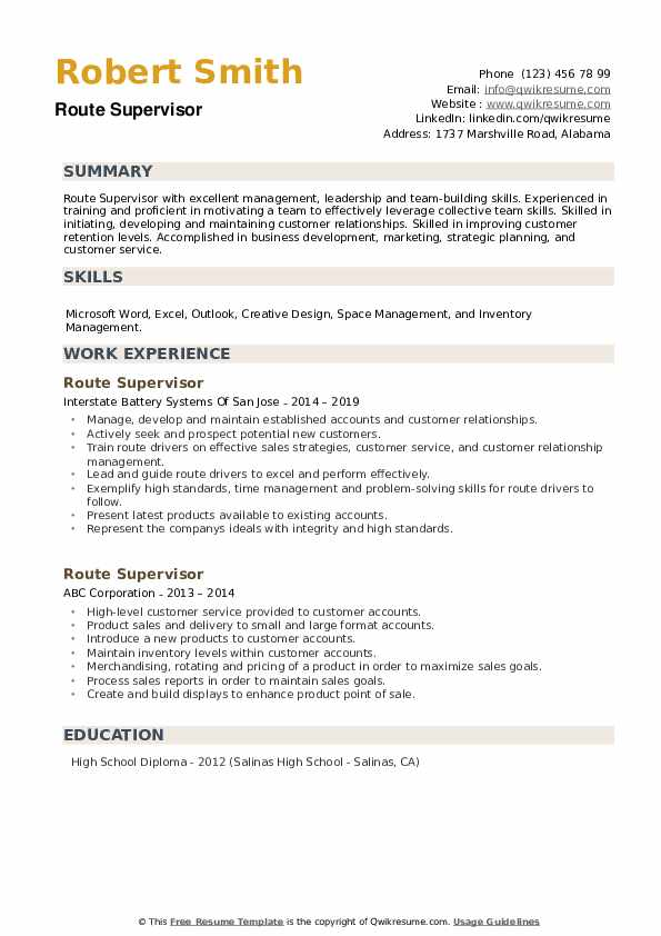 Route Supervisor Resume example