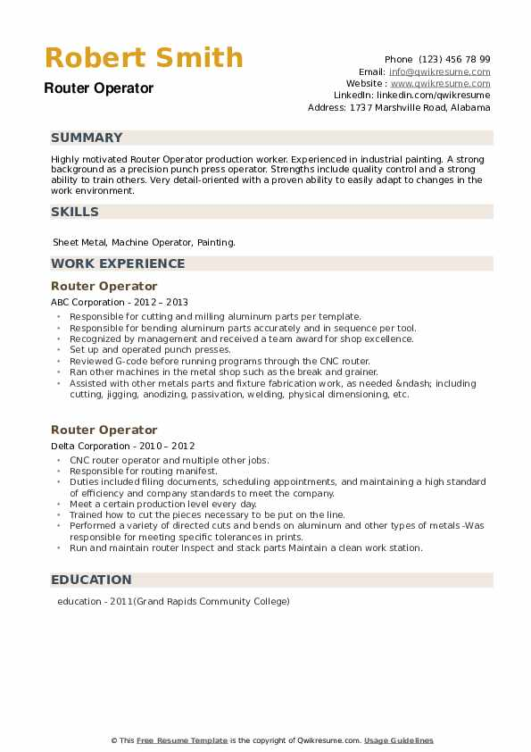 Router Operator Resume example