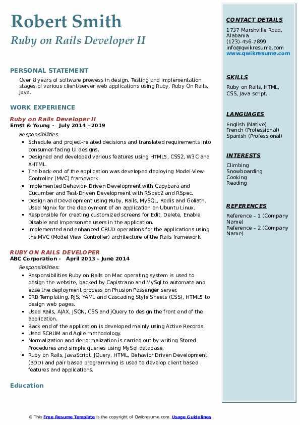 ruby on rails developer resume samples