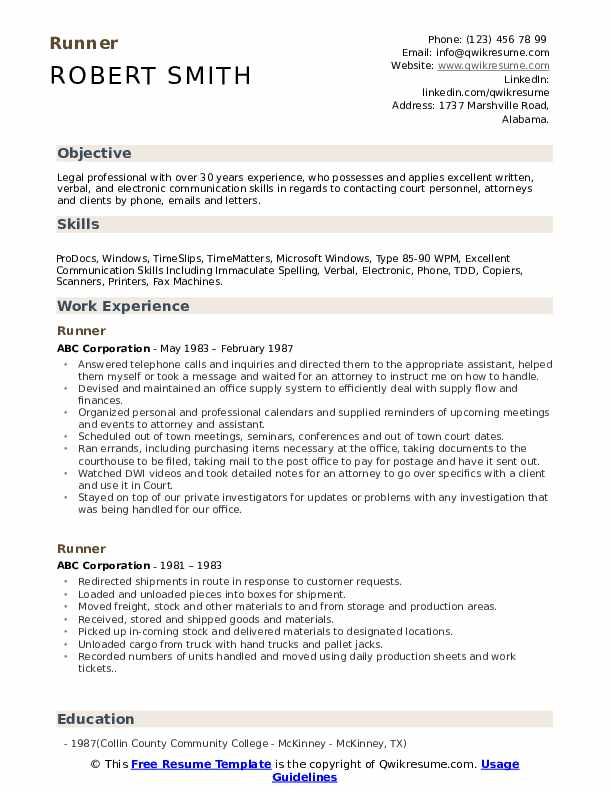 Runner Resume Template