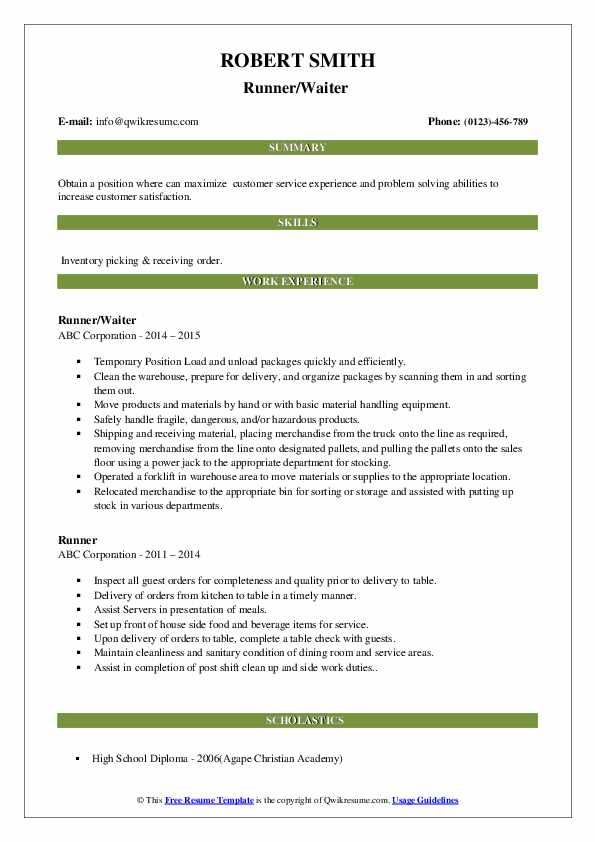 Runner/Waiter  Resume Model