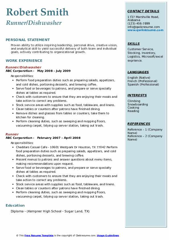 Runner/Dishwasher Resume Format