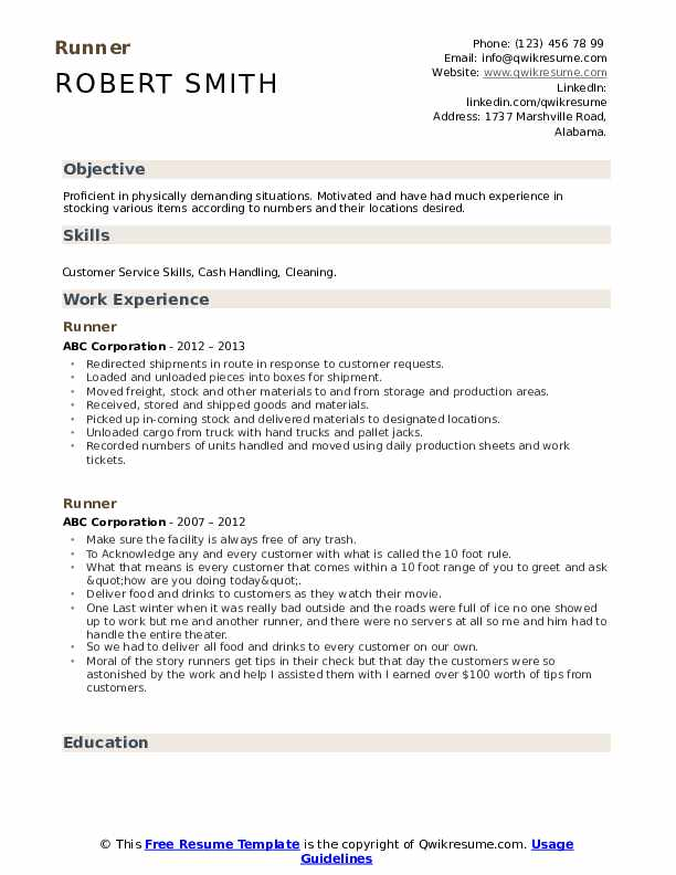 Runner Resume example