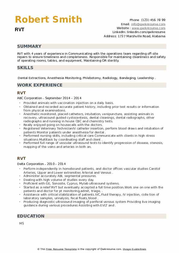 RVT Resume example