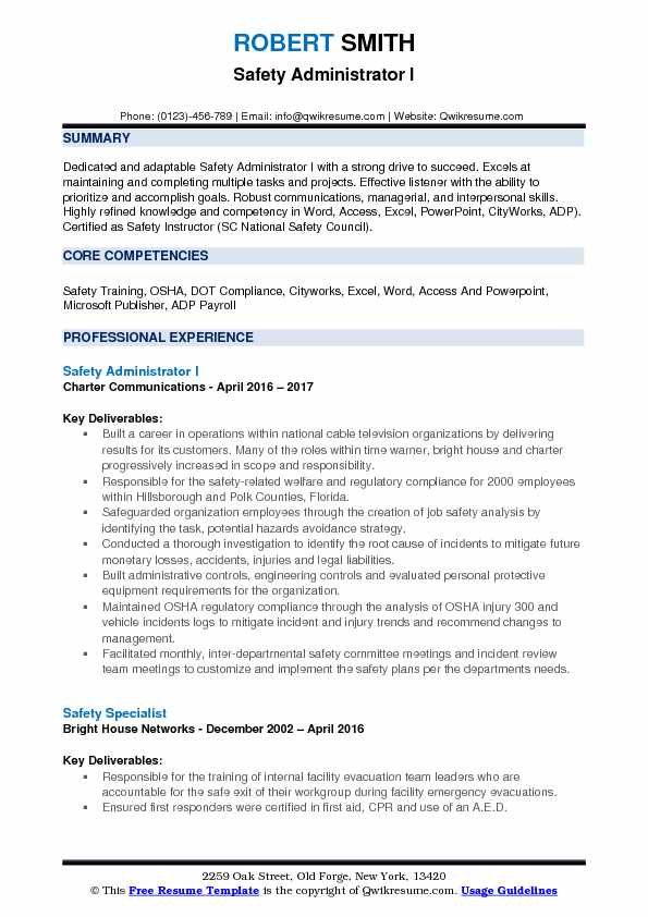 Safety Administrator I Resume Format