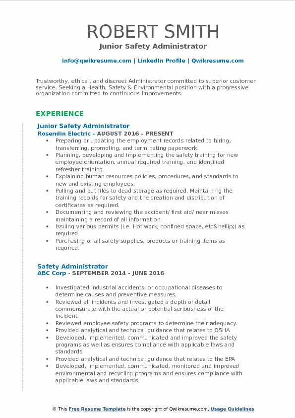 Junior Safety Administrator Resume Example
