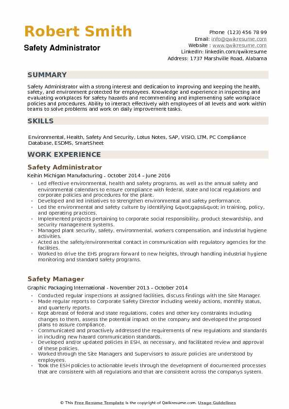 Safety Administrator Resume example