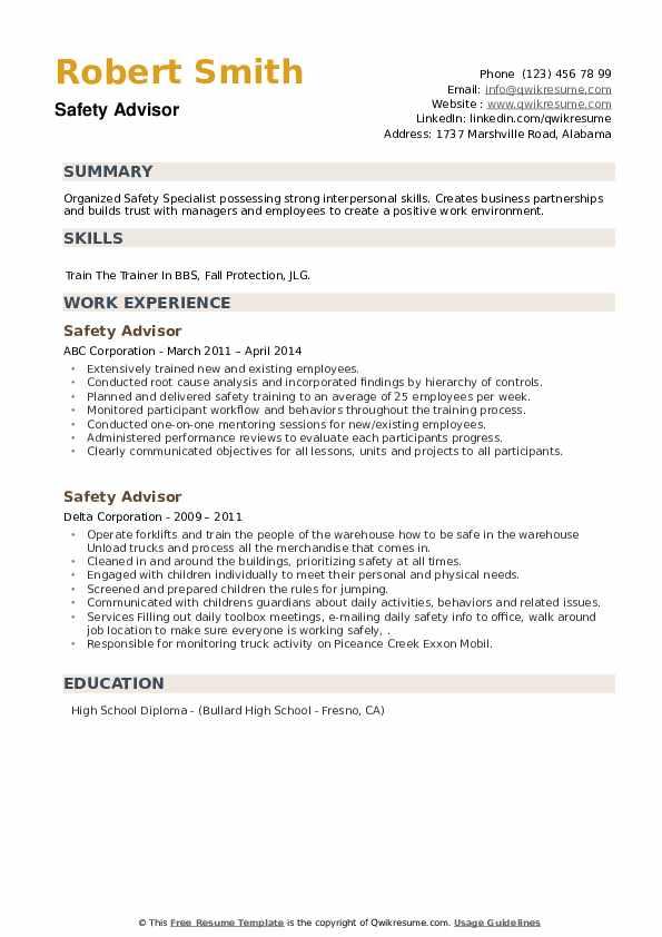 Safety Advisor Resume example