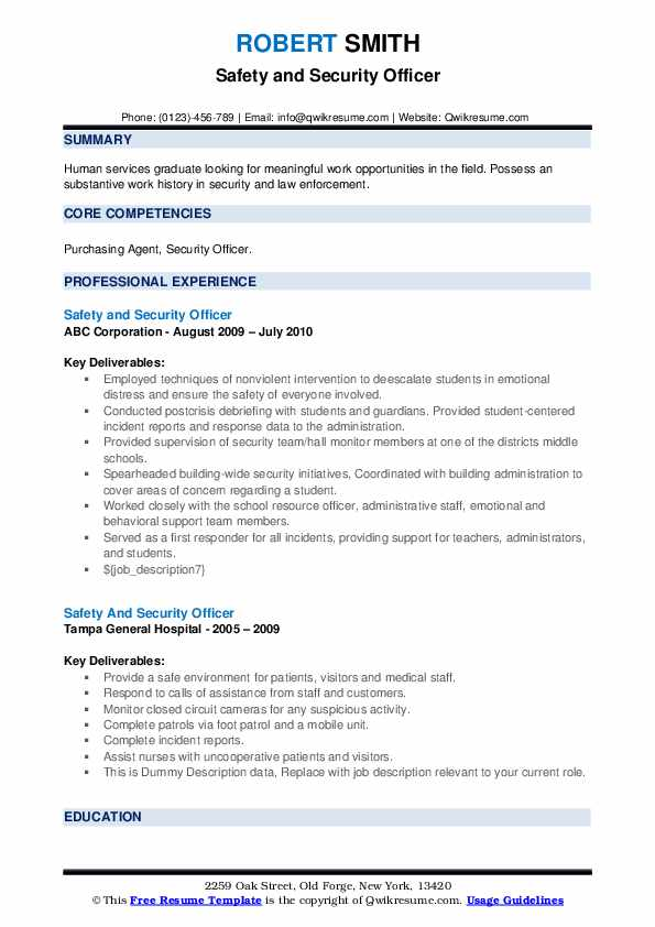 Safety And Security Ficer Resume Samples