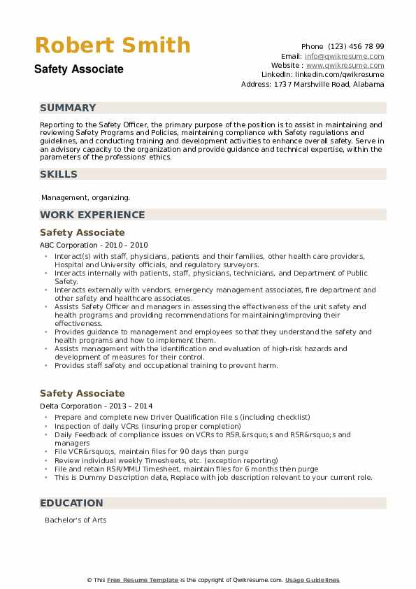 Safety Associate Resume example