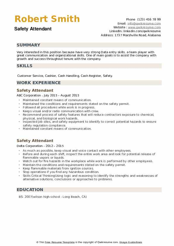 Safety Attendant Resume example