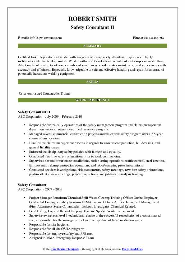 Safety Consultant II Resume Template