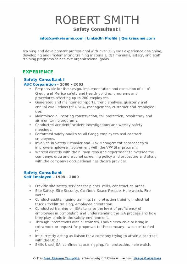 Safety Consultant I Resume Format