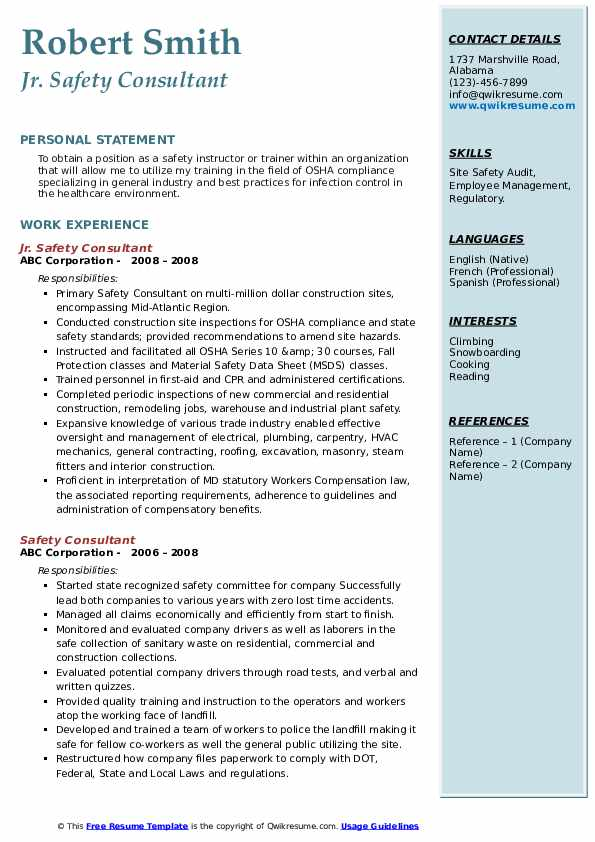 Safety Consultant Resume Samples Qwikresume