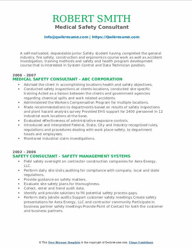 Medical Safety Consultant Resume Template