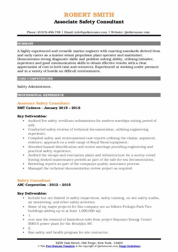 Associate Safety Consultant Resume Model