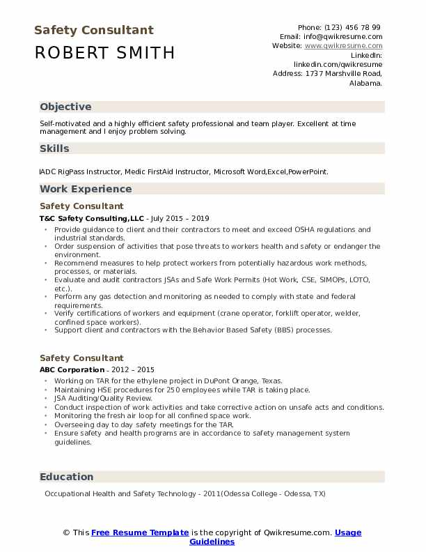 Safety Consultant Resume example