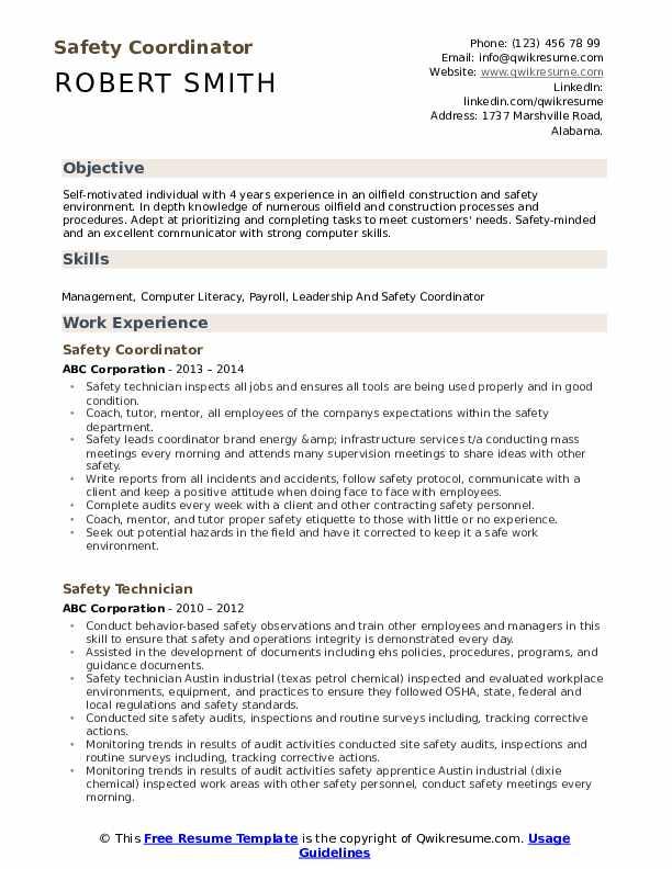 safety coordinator resume samples