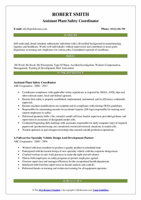 Assistant Plant Safety Coordinator Resume Template