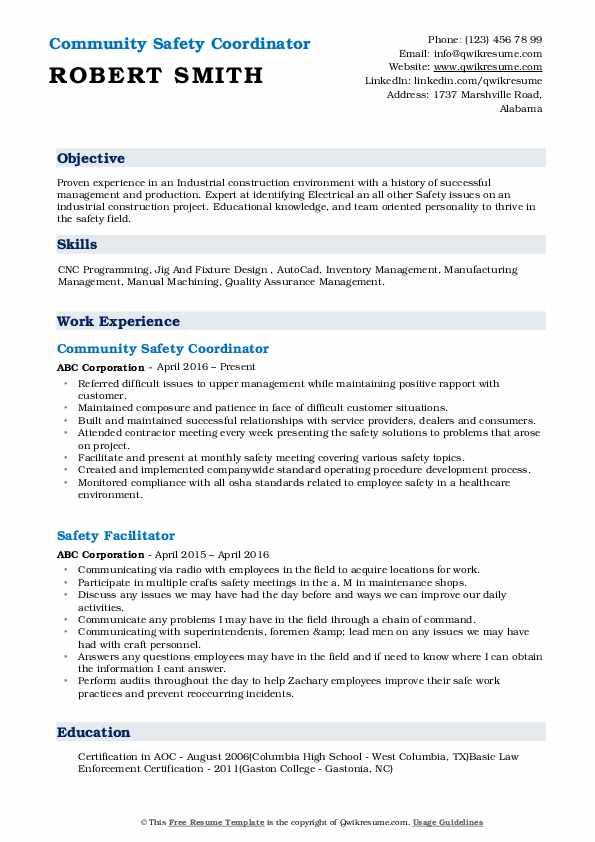 Community Safety Coordinator Resume Model