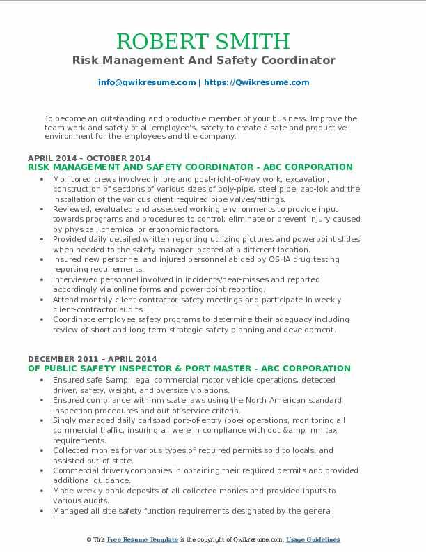 Risk Management And Safety Coordinator Resume Model