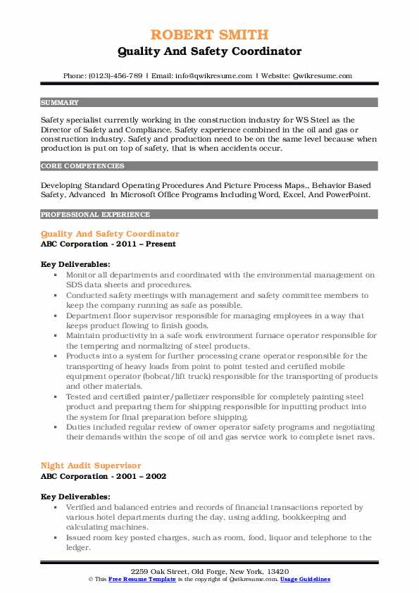 Quality And Safety Coordinator Resume Template