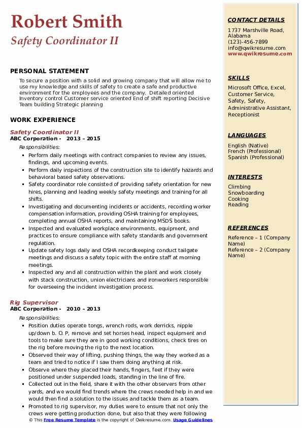 Safety Coordinator Resume Samples Qwikresume