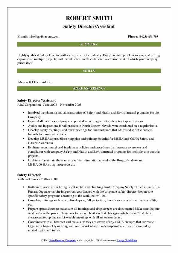 Safety Director/Assistant Resume Format